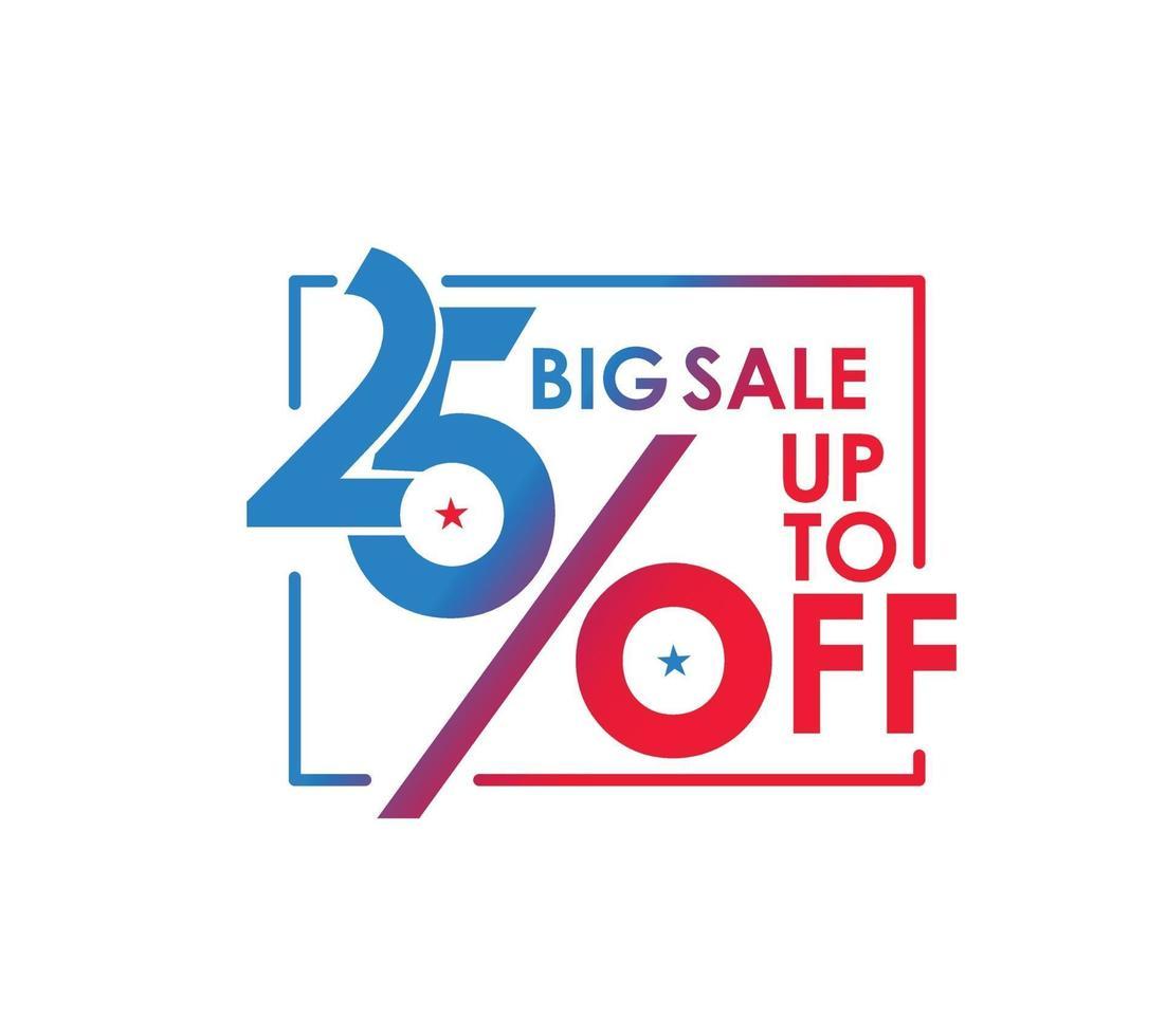 Up to 25 percent off, big sale, discount design. vector