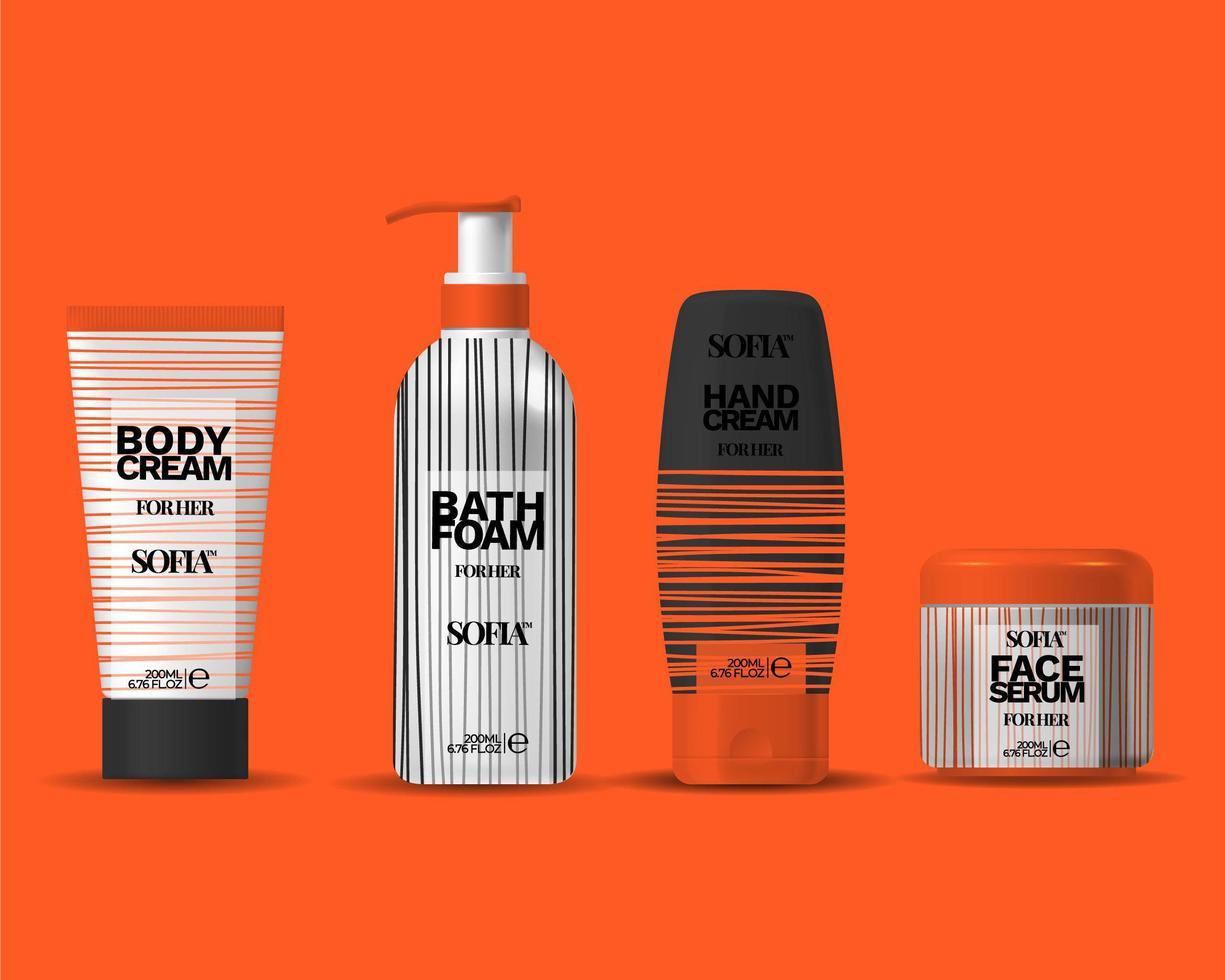 Set Of Elegant Clean Cosmetics Packaging Bottle, Vase, Tube, Design Template, Cosmetics Elegant Label Design Set vector