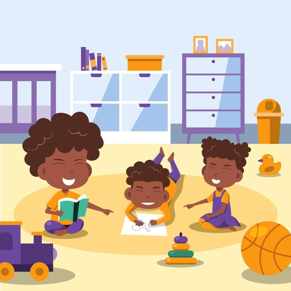 Children Studying at Home vector