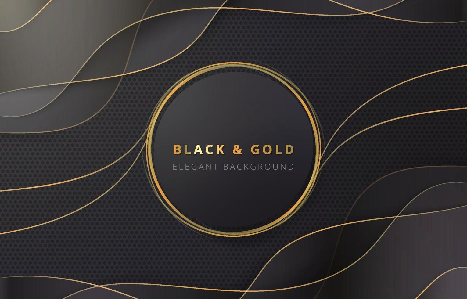 Gold Circle in Black and Gold Wave Background vector