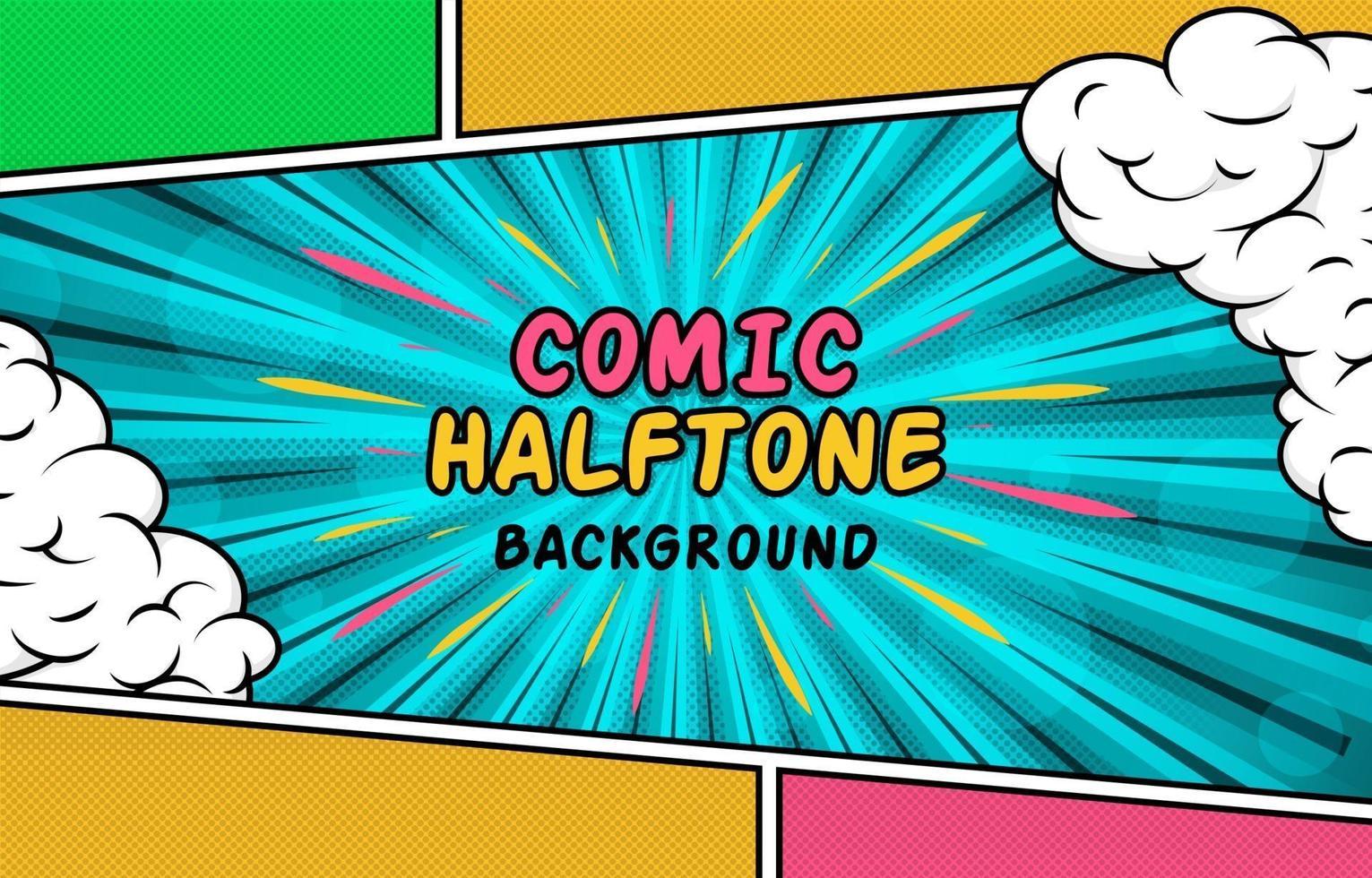 Colorful Comic Half Tone Background vector