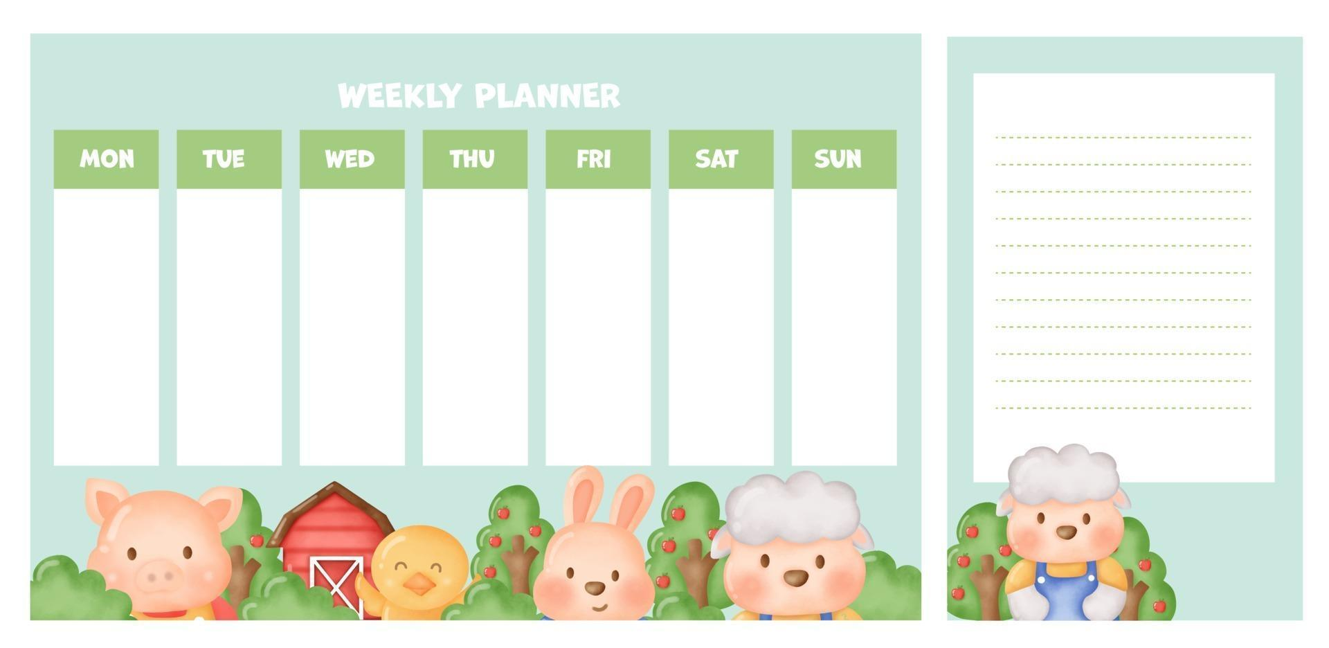 weekly planner with cute watercolor farm animals. vector