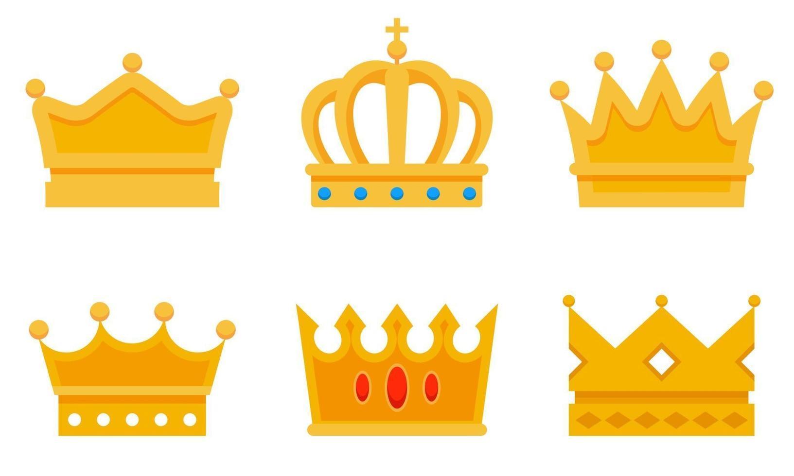 conjunto de diferentes coronas de oro. vector