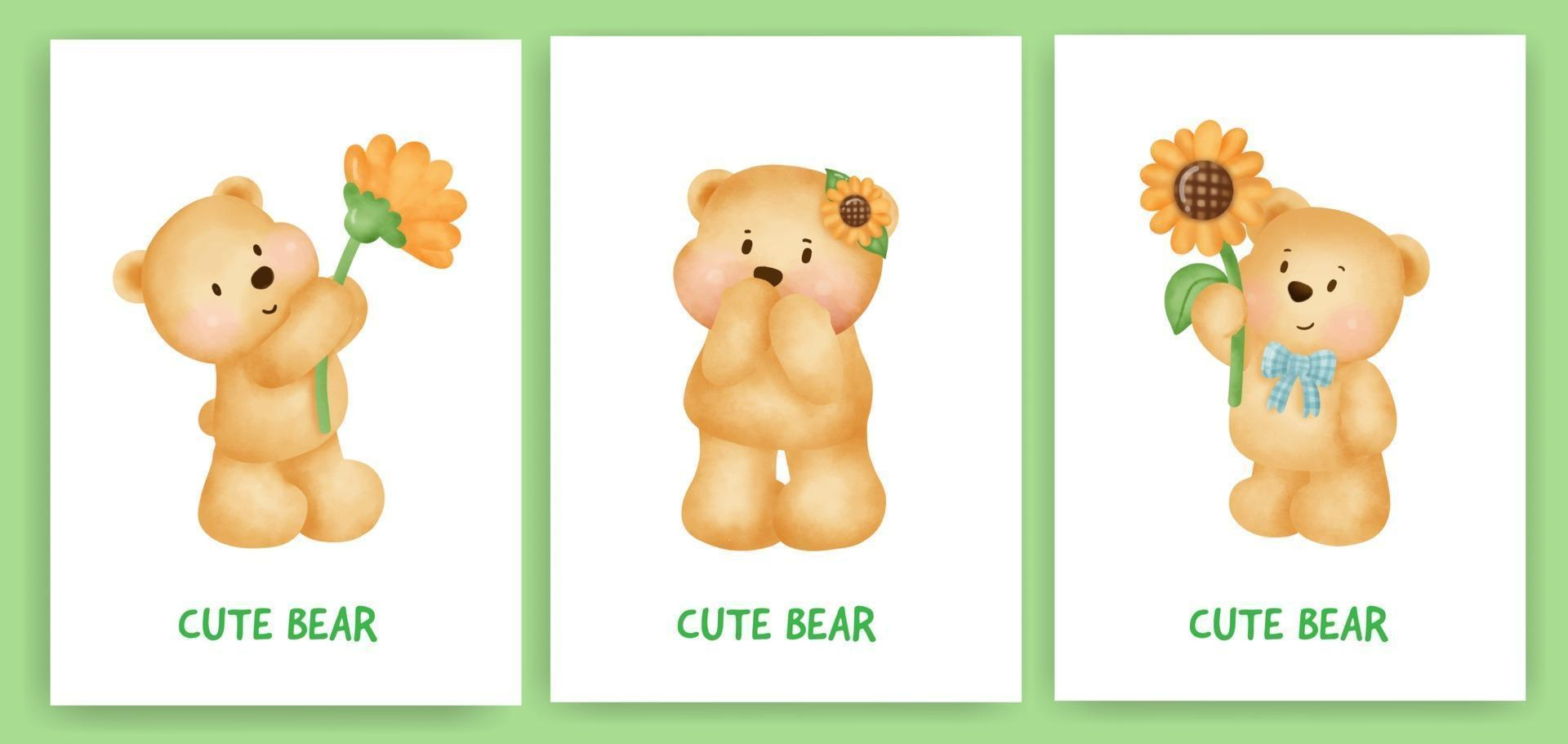 Cute teddy bear greeting card set in watercolor style. vector