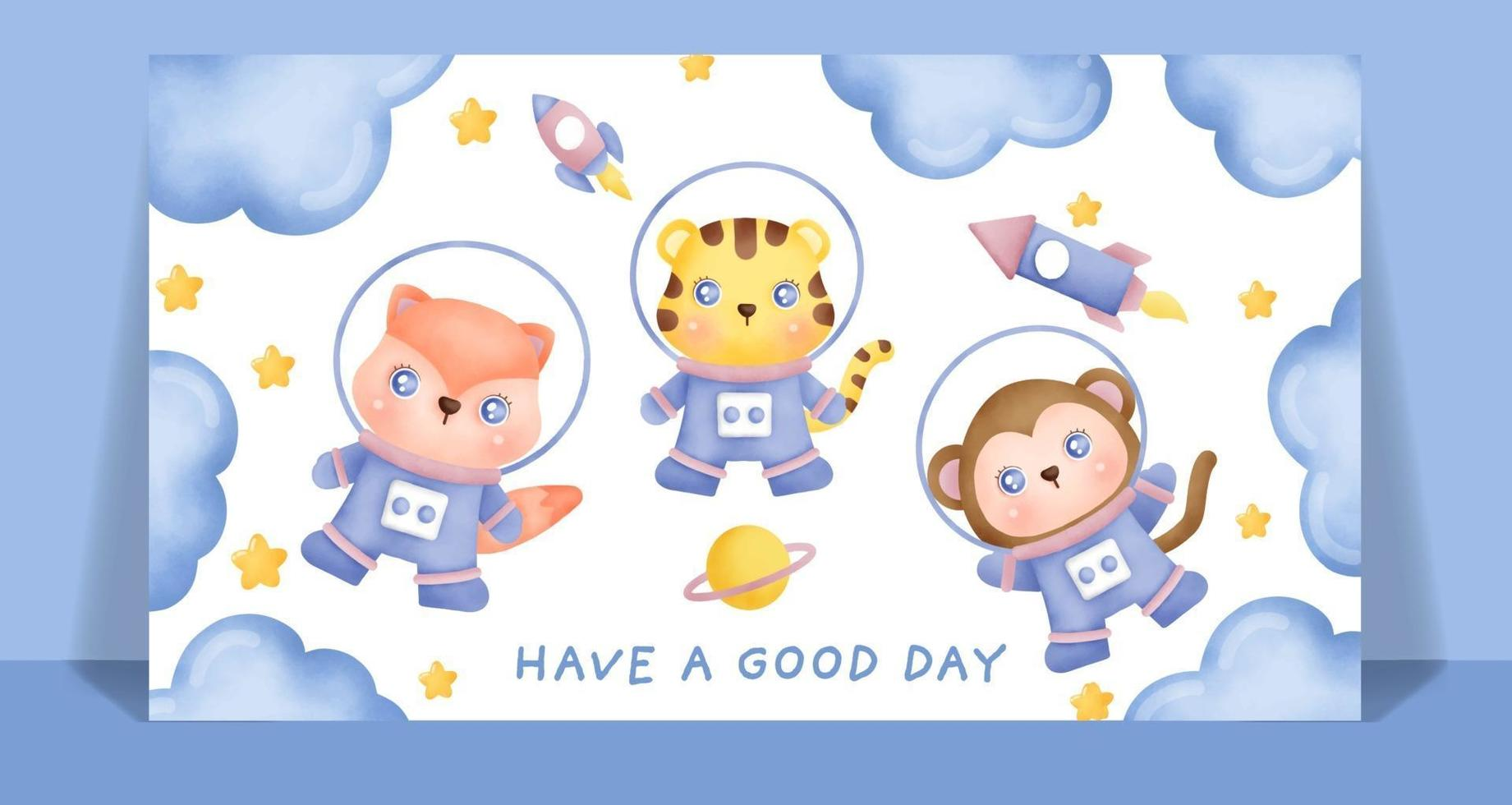 Watercolor cute animals in the space card. vector