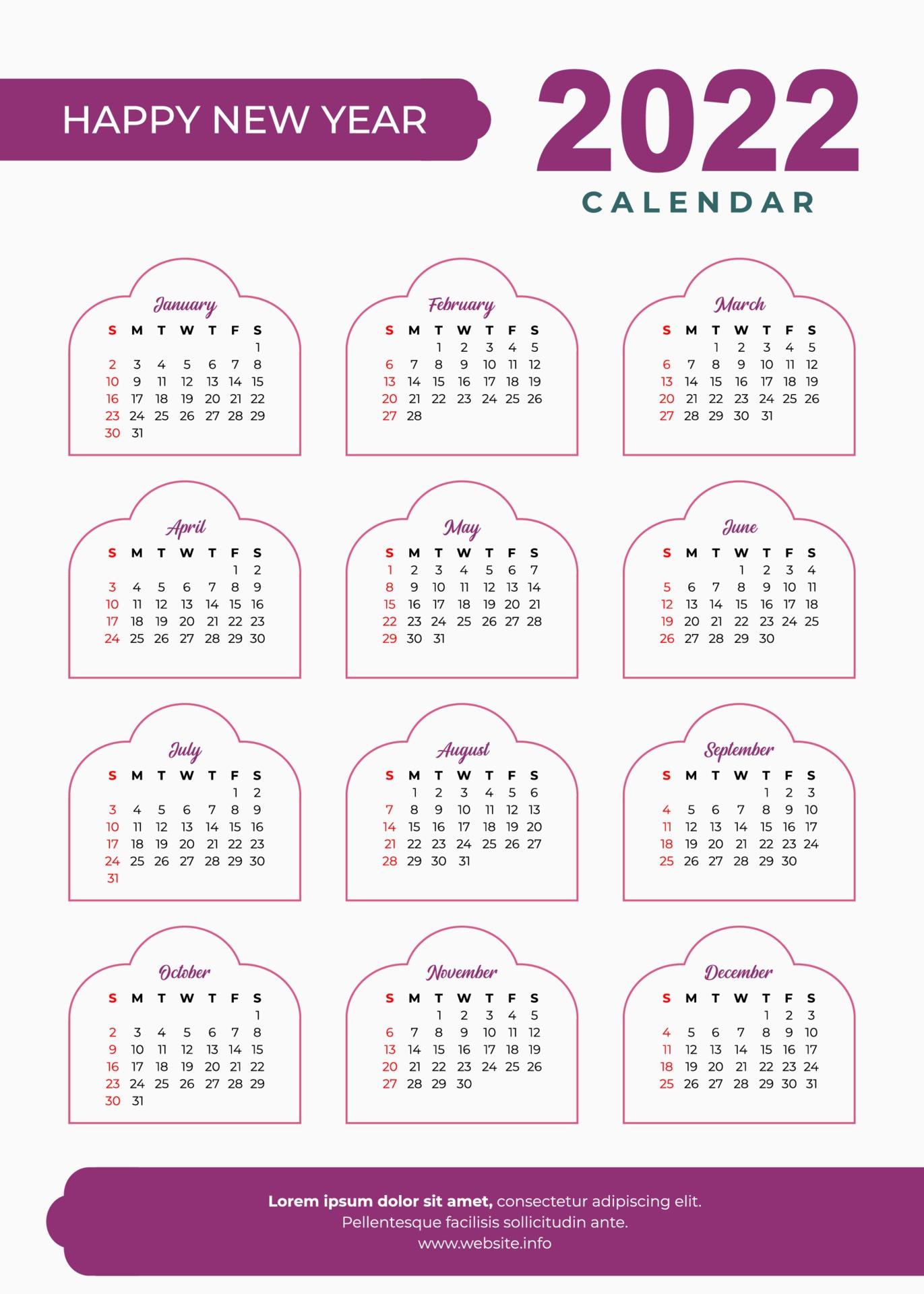 Arabic Calendar 2022.2022 Islamic Calendar Design 2198761 Vector Art At Vecteezy