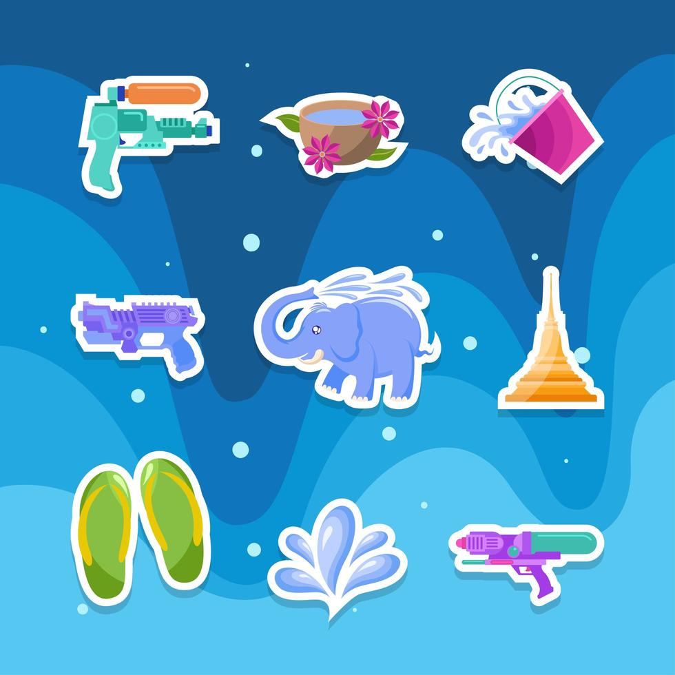 Songkran Water Festival Sticker Set vector