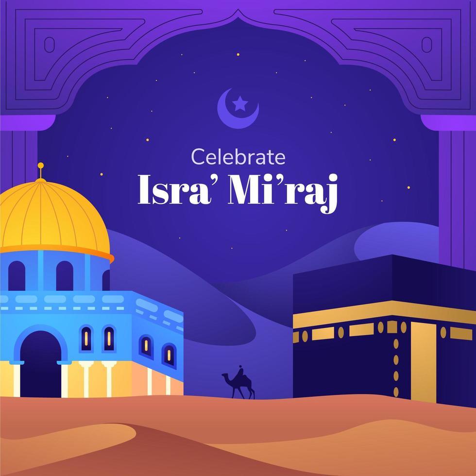 Celebrating Isra Miraj Background vector