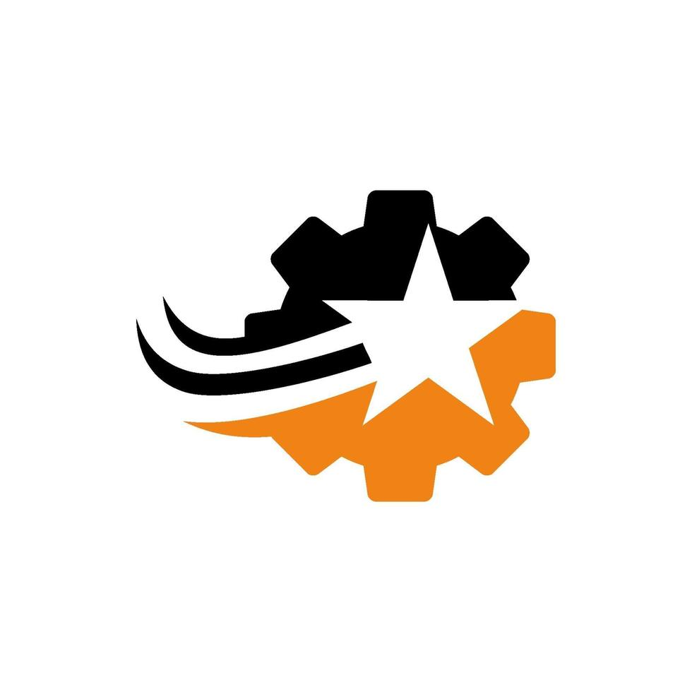 icono de vector de plantilla de diseño de logotipo de empresa estrella de engranaje
