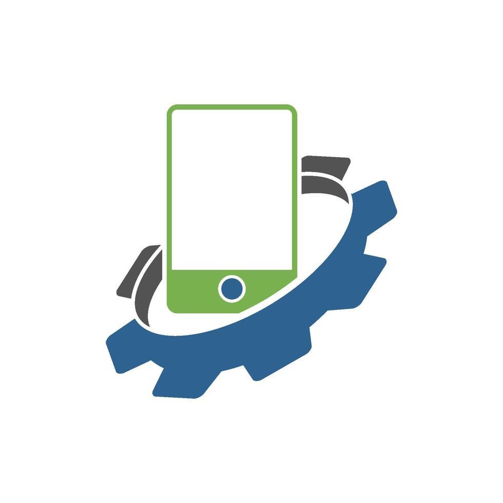 icono de plantilla de diseño de negocio de teléfono inteligente de engranaje vector
