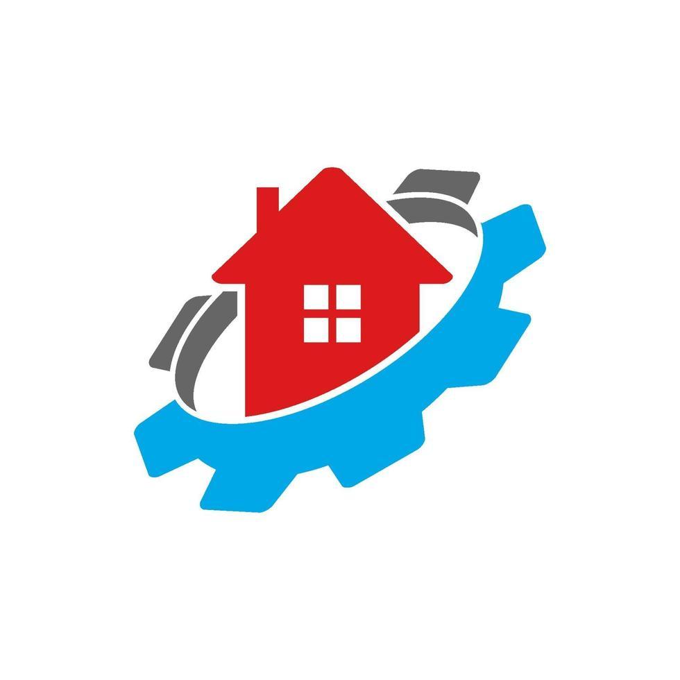 icono de plantilla de diseño de negocio en casa de engranaje vector