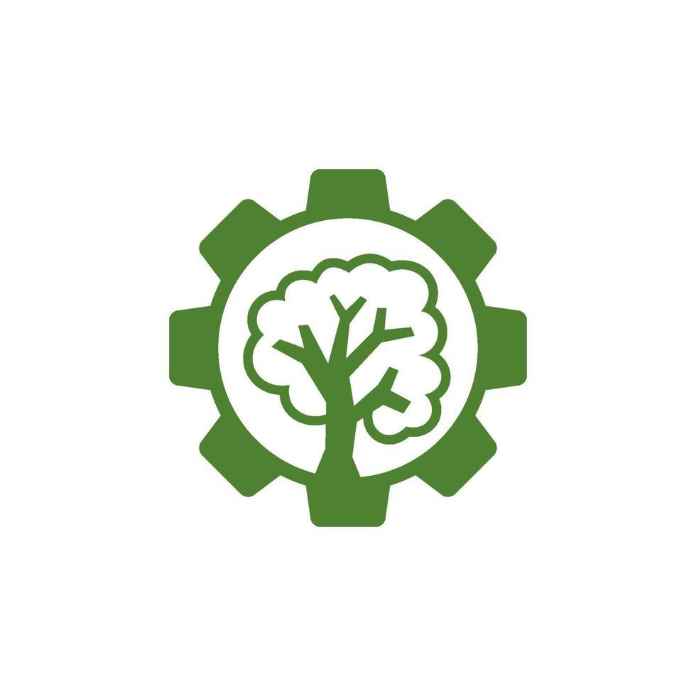 icono de plantilla de diseño de negocio de árbol de engranajes vector
