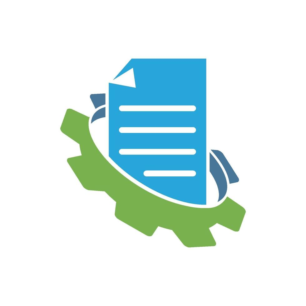 icono de plantilla de diseño de negocio de documento de engranaje vector