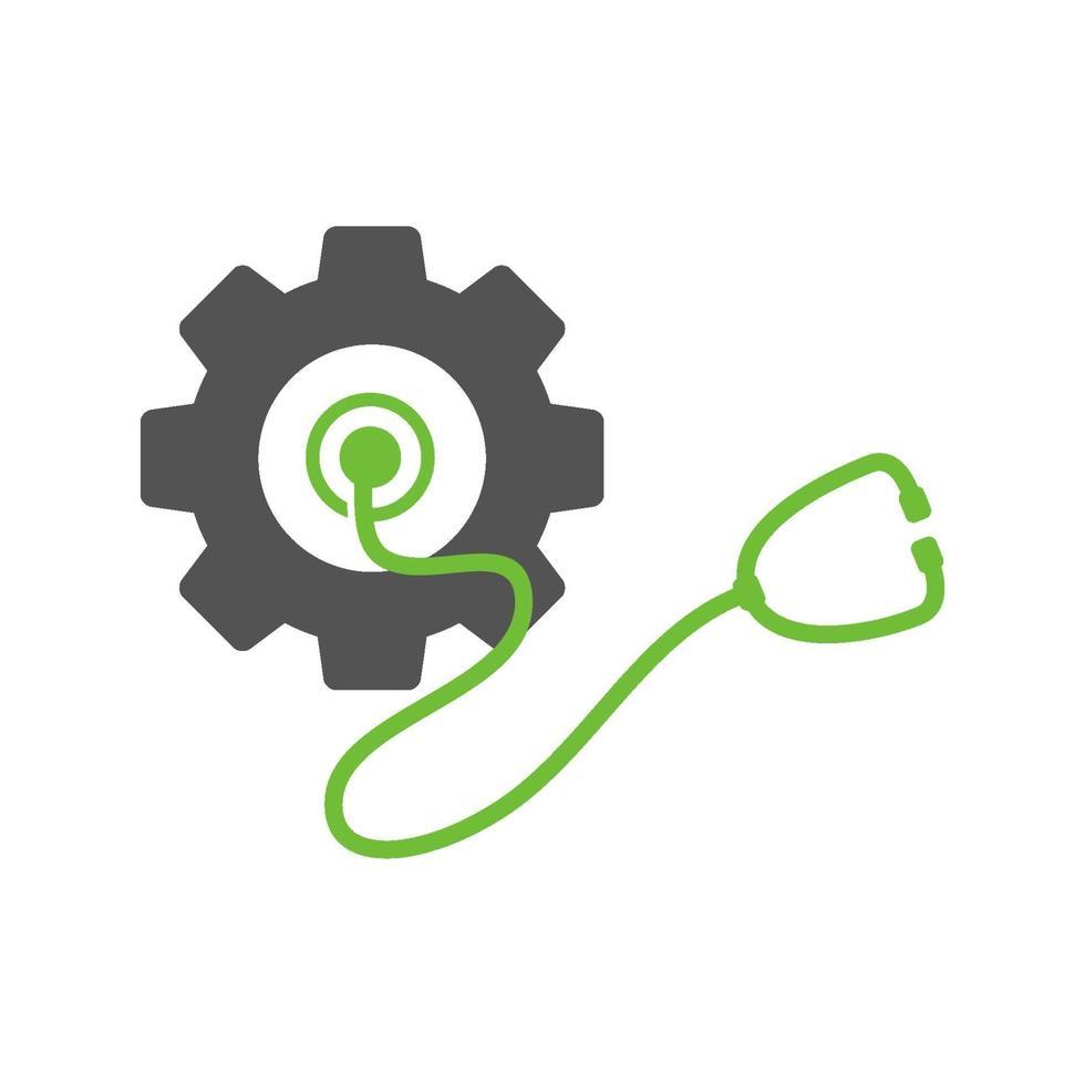 icono de plantilla de diseño de negocio de estetoscopio de engranaje vector