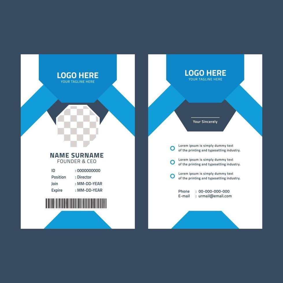 plantilla de tarjeta de identificación azul y negra vector