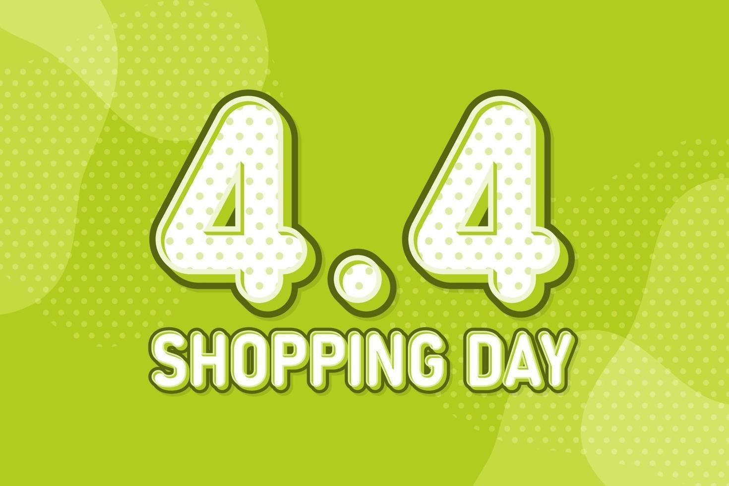 4.4 día de compras, banner de marketing de texto. diseño de discurso de arte pop en colores pastel. ilustración vectorial vector