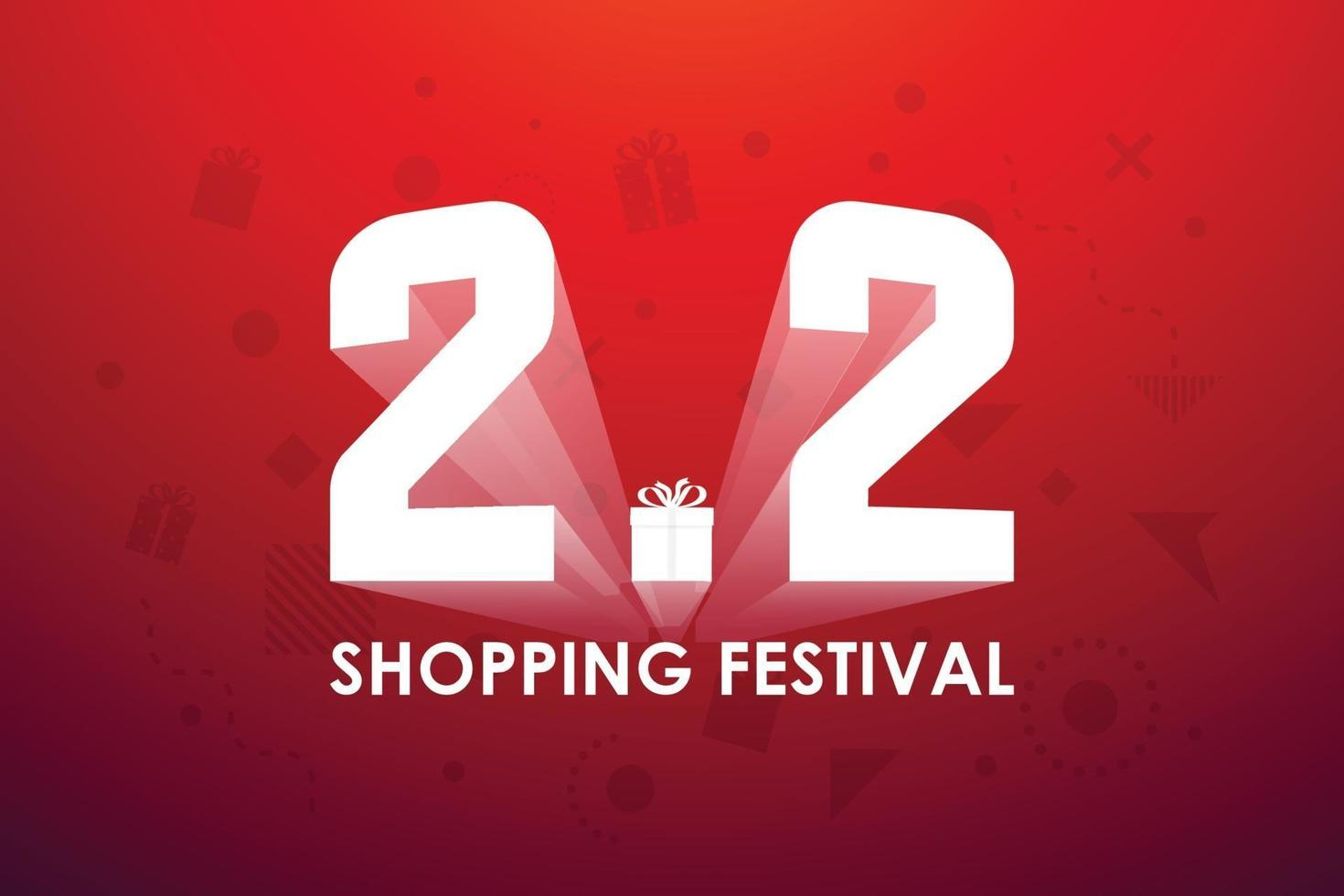 2.2 festival de compras, diseño de banner de marketing de voz sobre fondo rojo. ilustración vectorial vector