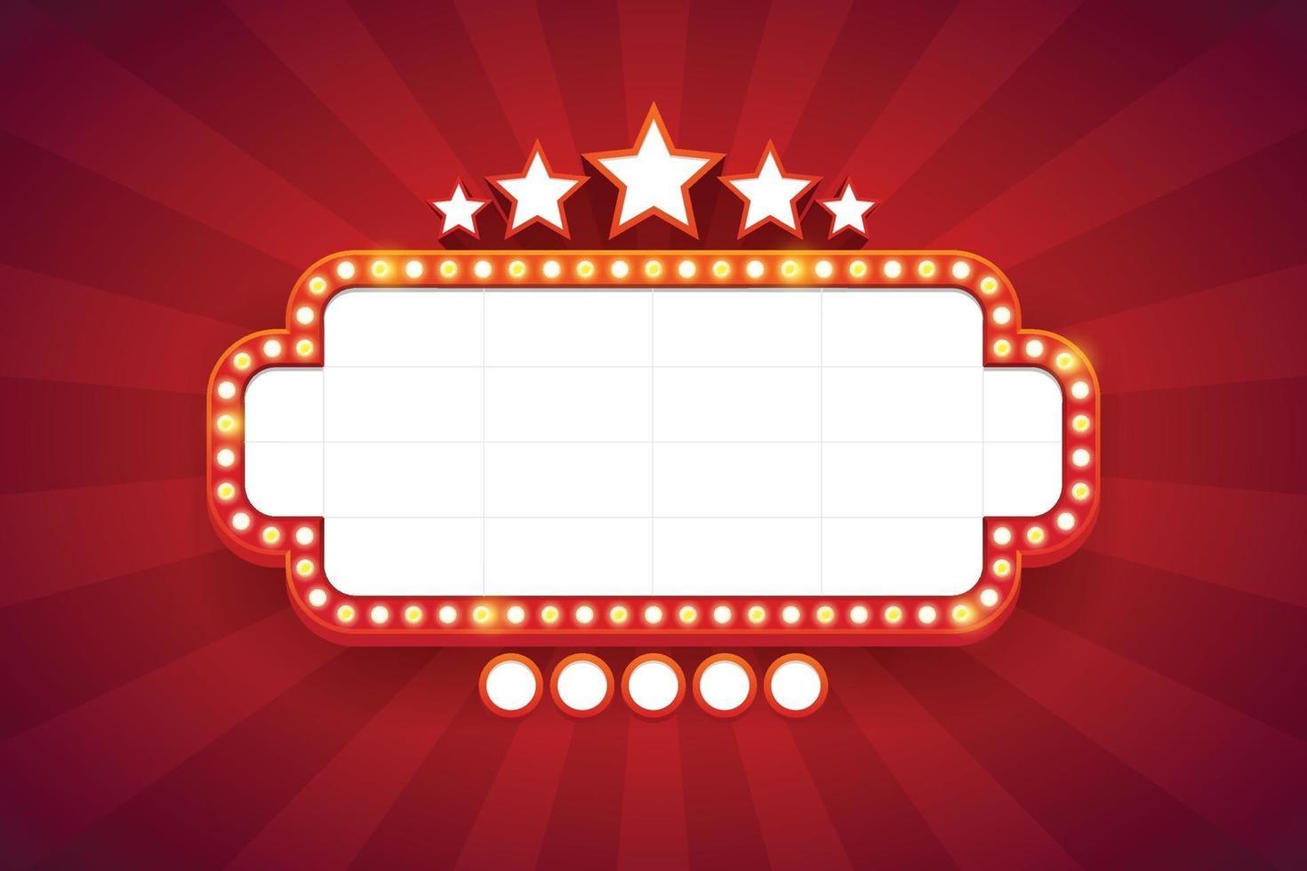 marco de luz brillante cartelera retro con decoración. estilo vintage de casino. ilustración vectorial vector