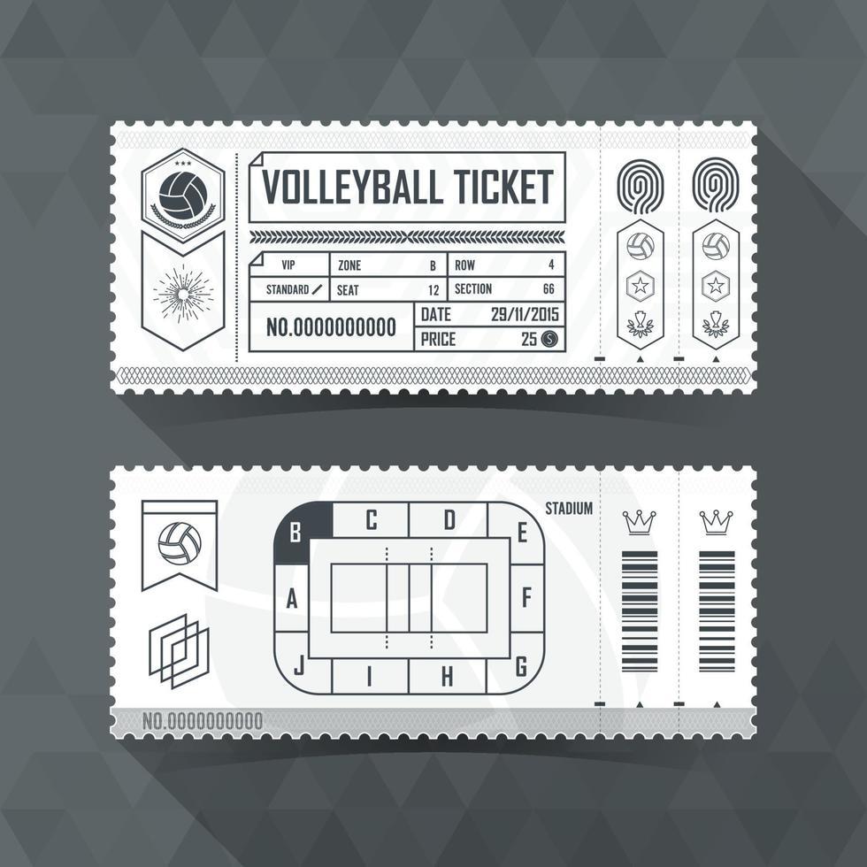 Tarjeta de boleto de voleibol diseño de elemento moderno. ilustración vectorial vector