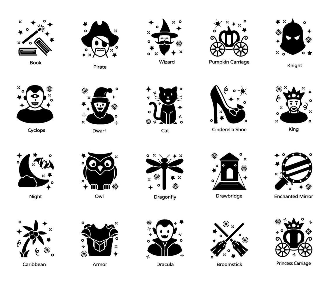 elementos de magia y cuentos de hadas vector