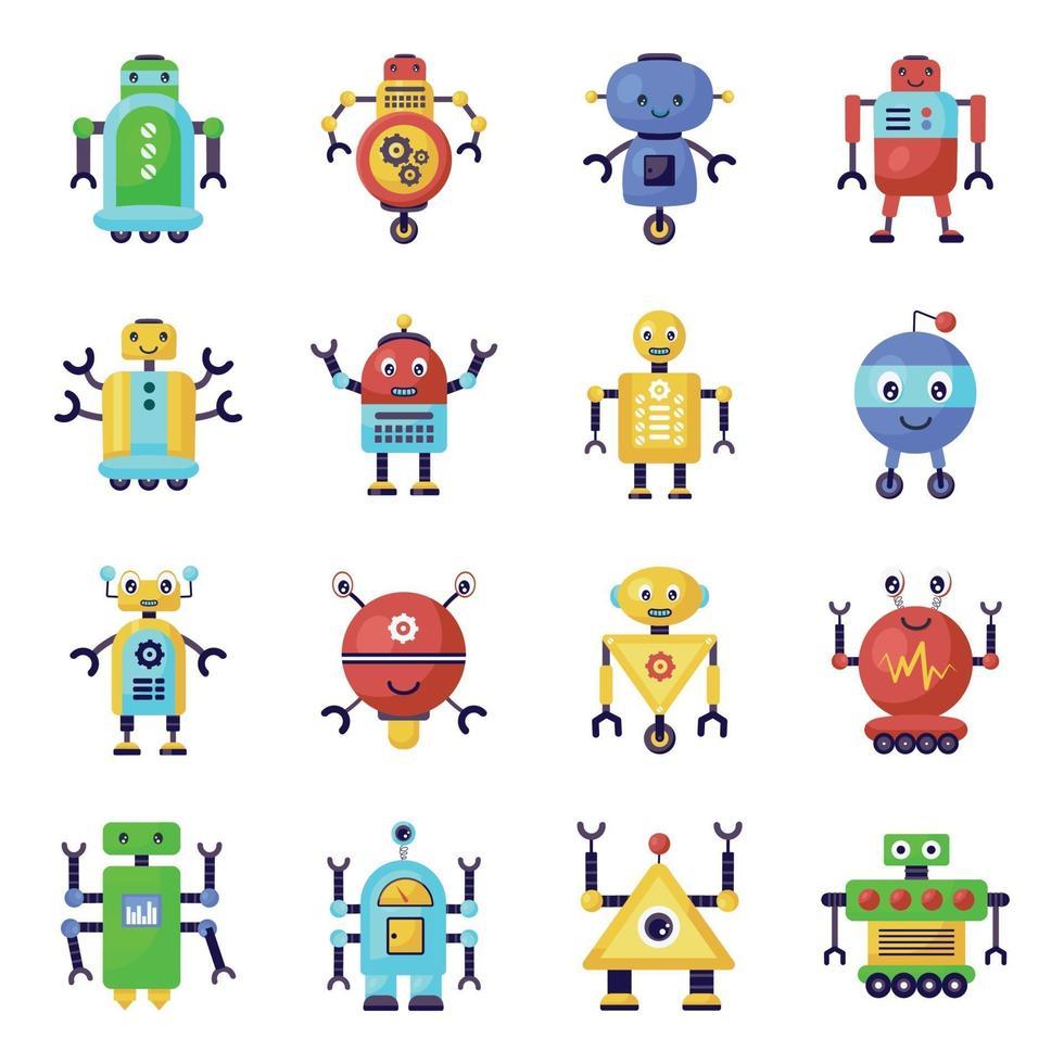 robots y humanos biónicos vector