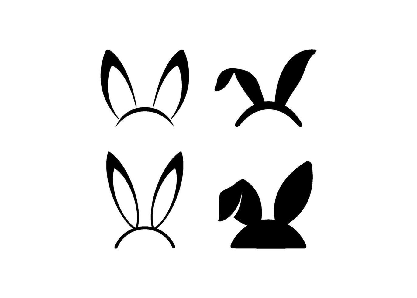 conejito, orejas, icono, ilustración, vector, conjunto vector