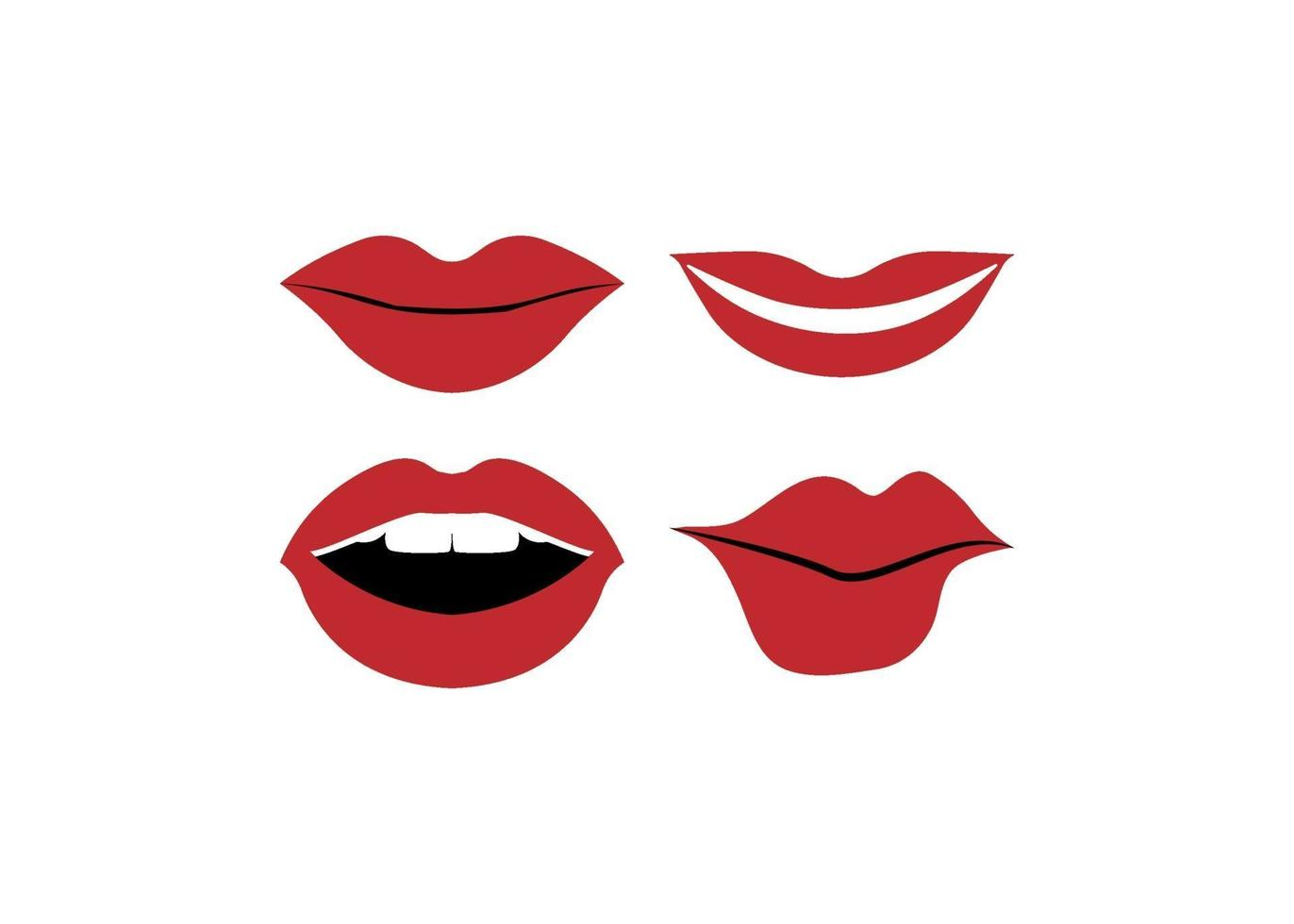 Lips mouth icon illustration vector set