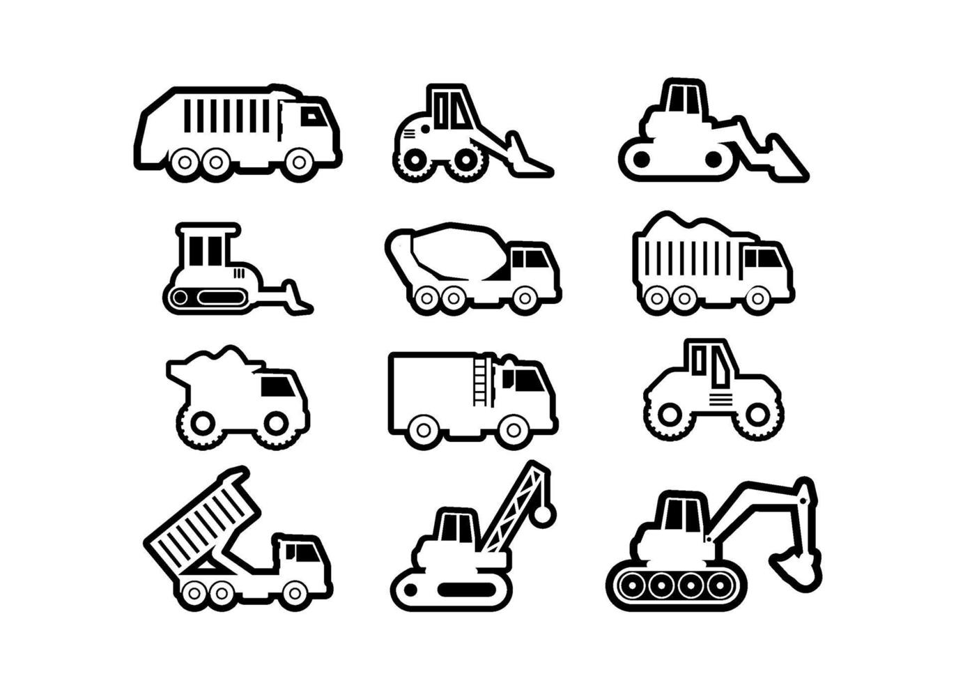 conjunto de vectores de ilustración de icono de vehículo pesado