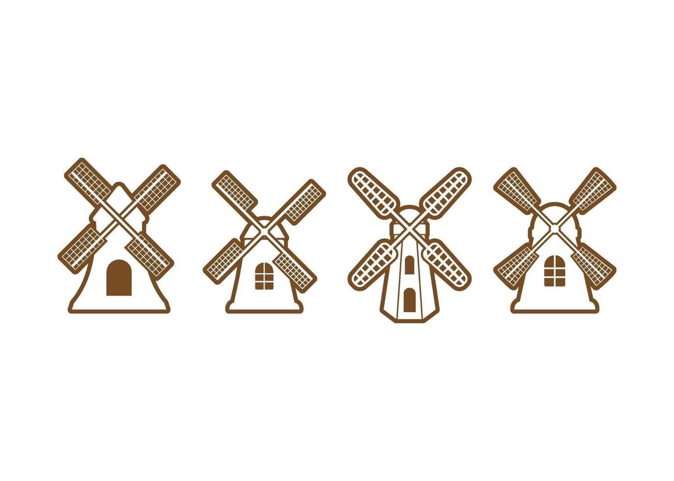 conjunto de vectores de ilustración de icono de molino de viento