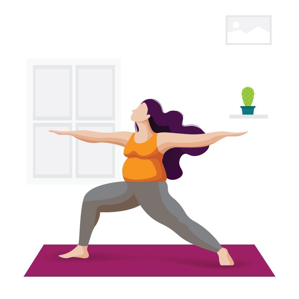 mujer practicando yoga interior vector