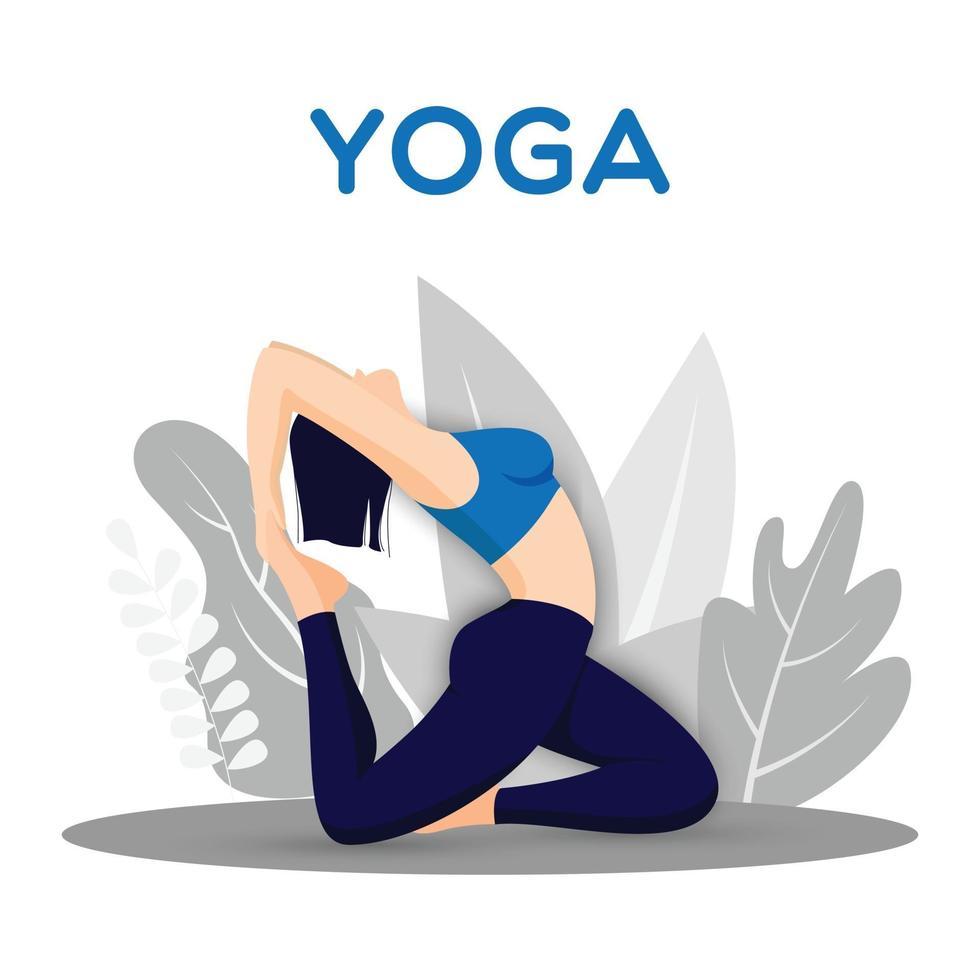 mujer practicando yoga pose al aire libre vector