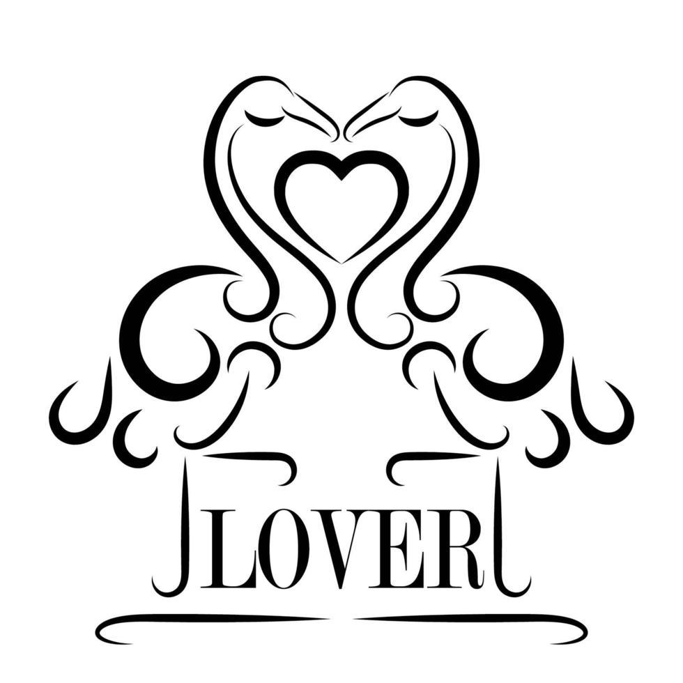 arte de línea negra de amantes flamencos con corazón vector