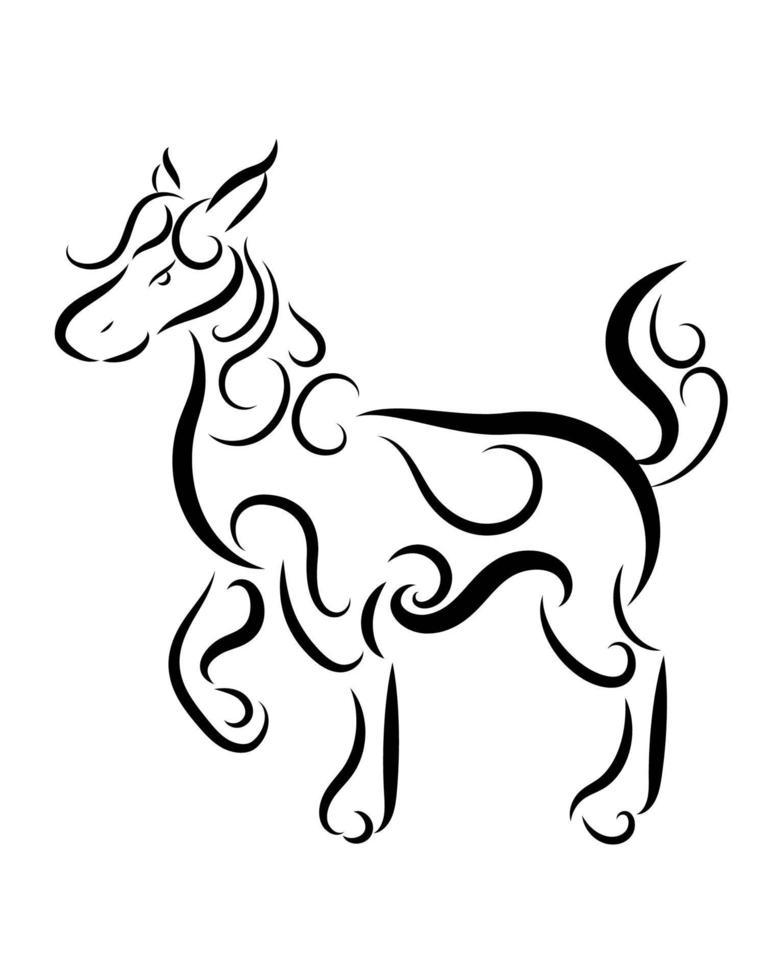 vector de arte lineal de caballo. está de pie.