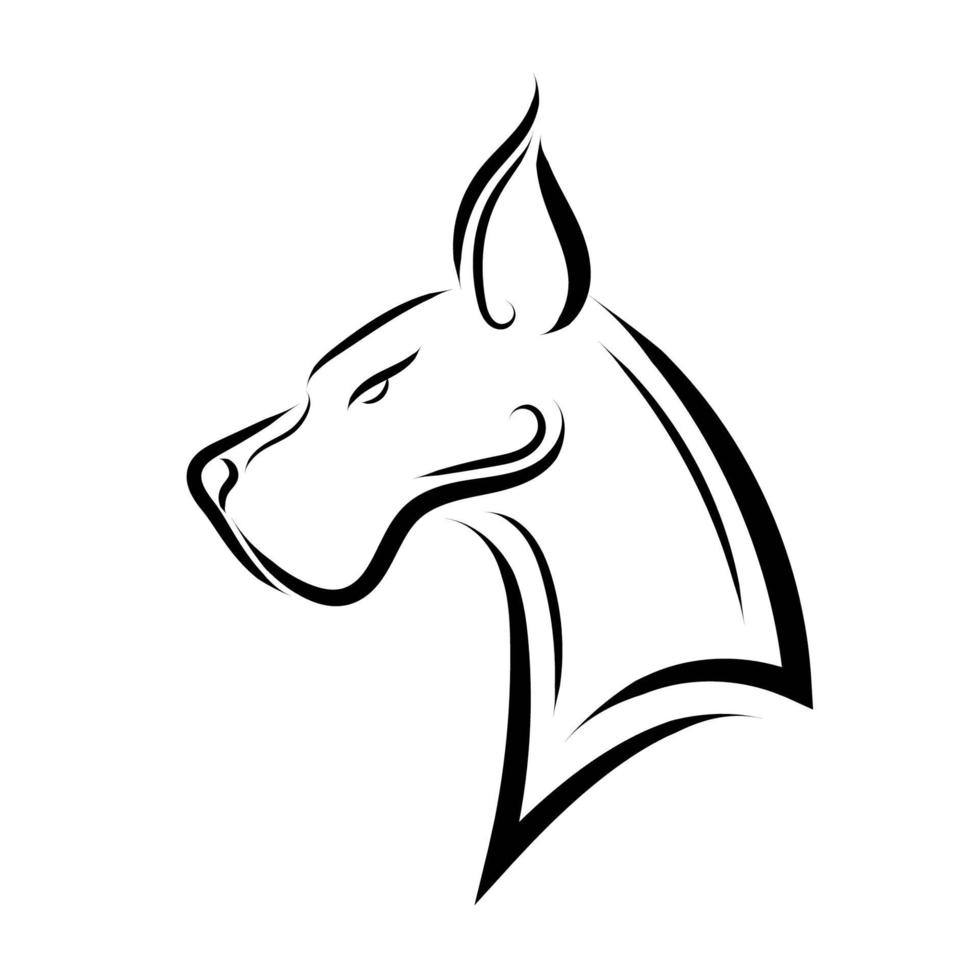 Black and white line art of Great Dane dog head. vector