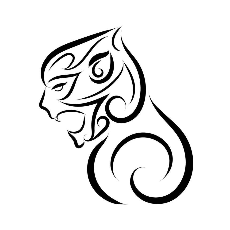 arte lineal en blanco y negro de cabeza de mono. vector