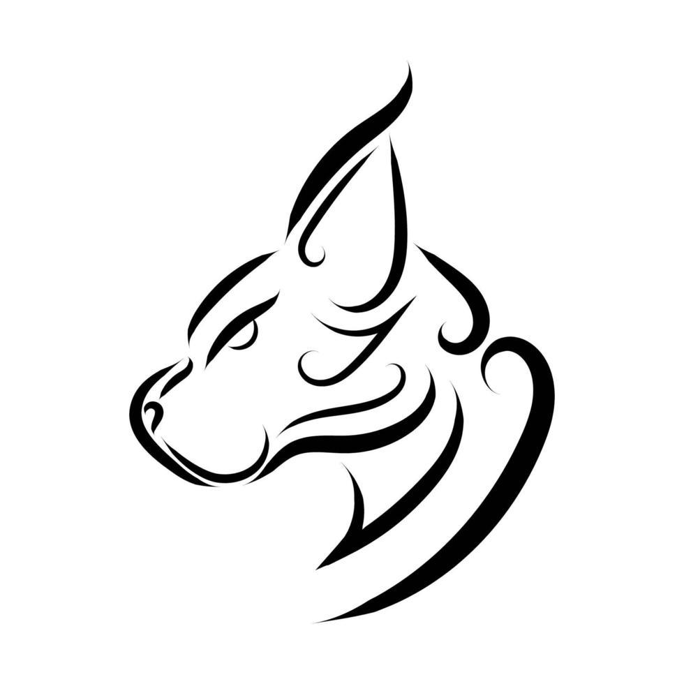 Black and white line art of wildcat head. vector