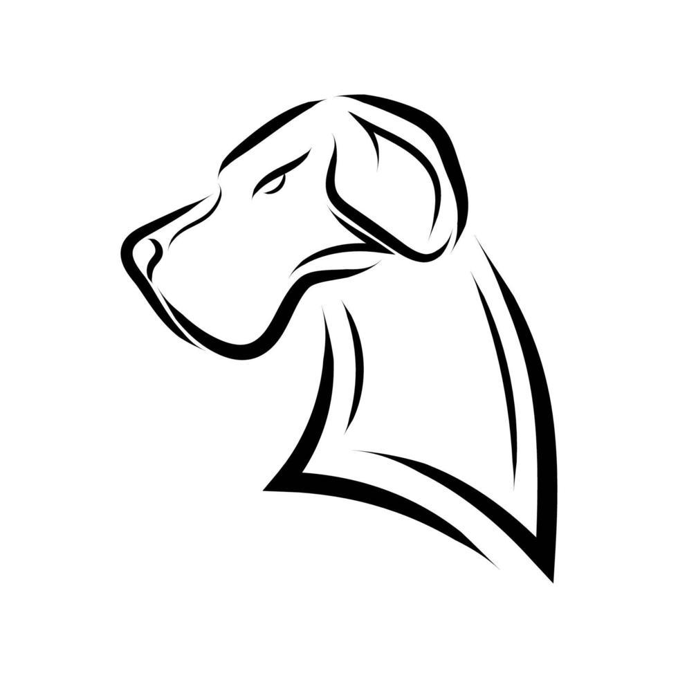 arte lineal en blanco y negro de la cabeza de perro gran danés. vector