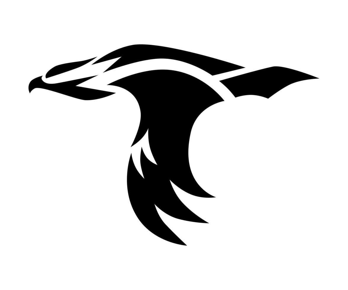 símbolo negro del vector del águila que está volando.
