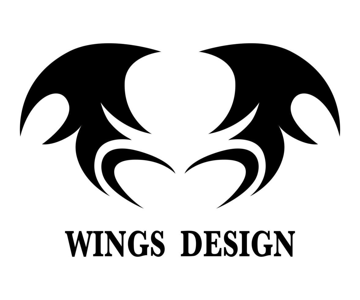Ilustración de vector de diseño de logotipo de ala de animal negro adecuado para marca o símbolo.