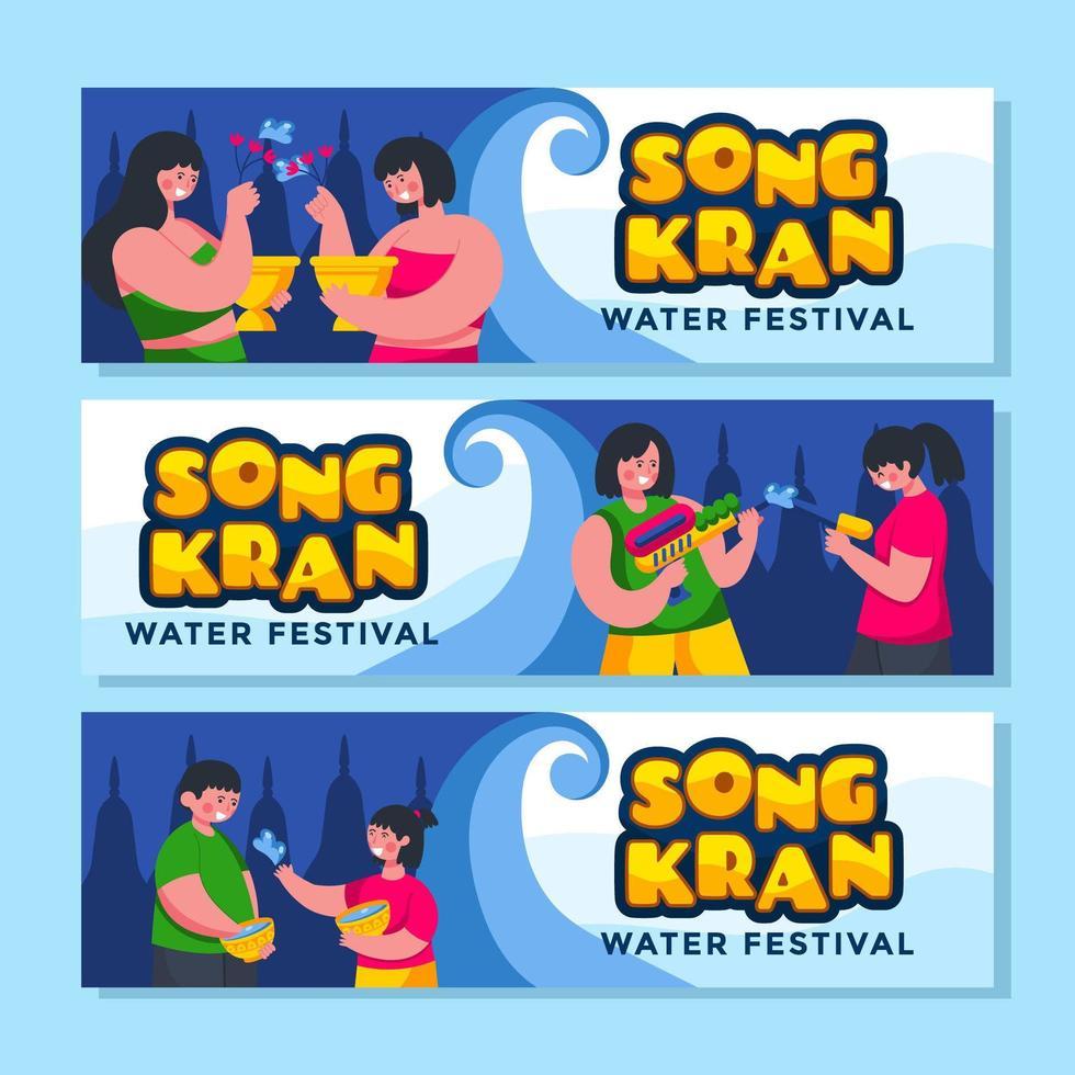 personas jugando entre sí durante el festival de songkran vector