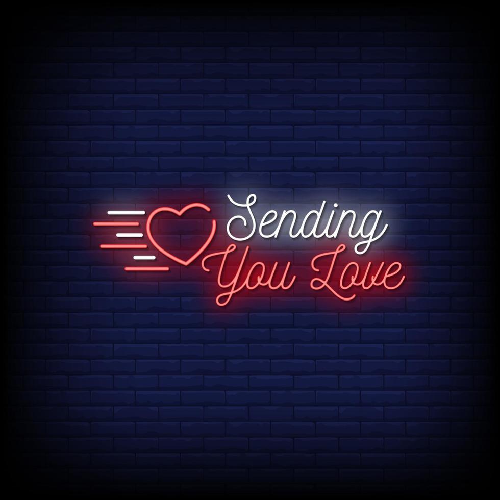 enviándote amor letreros de neón estilo vector de texto