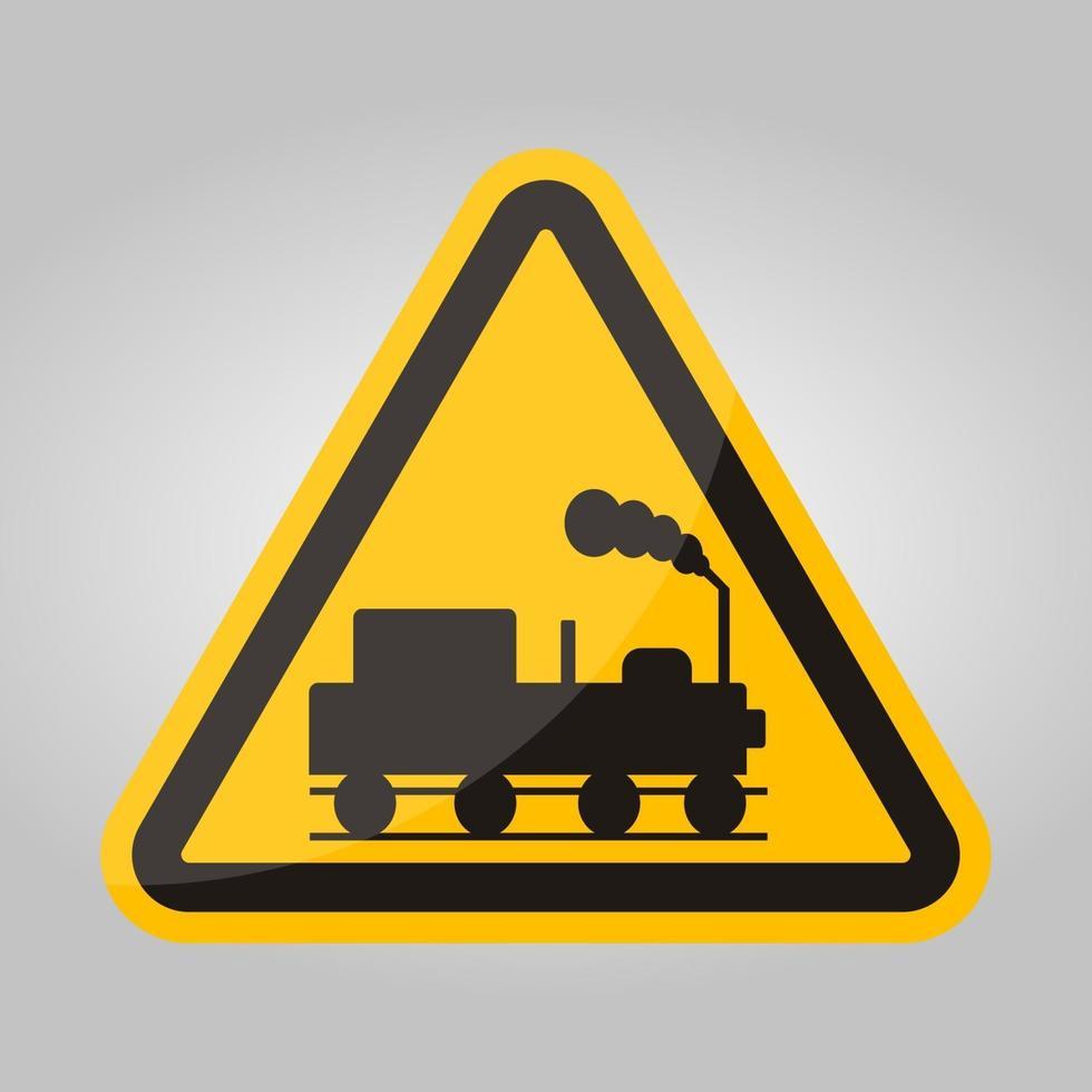 peligro, cuidado, de, trenes, símbolo, señal, aislar, blanco, plano de fondo, vector, ilustración, eps.10 vector
