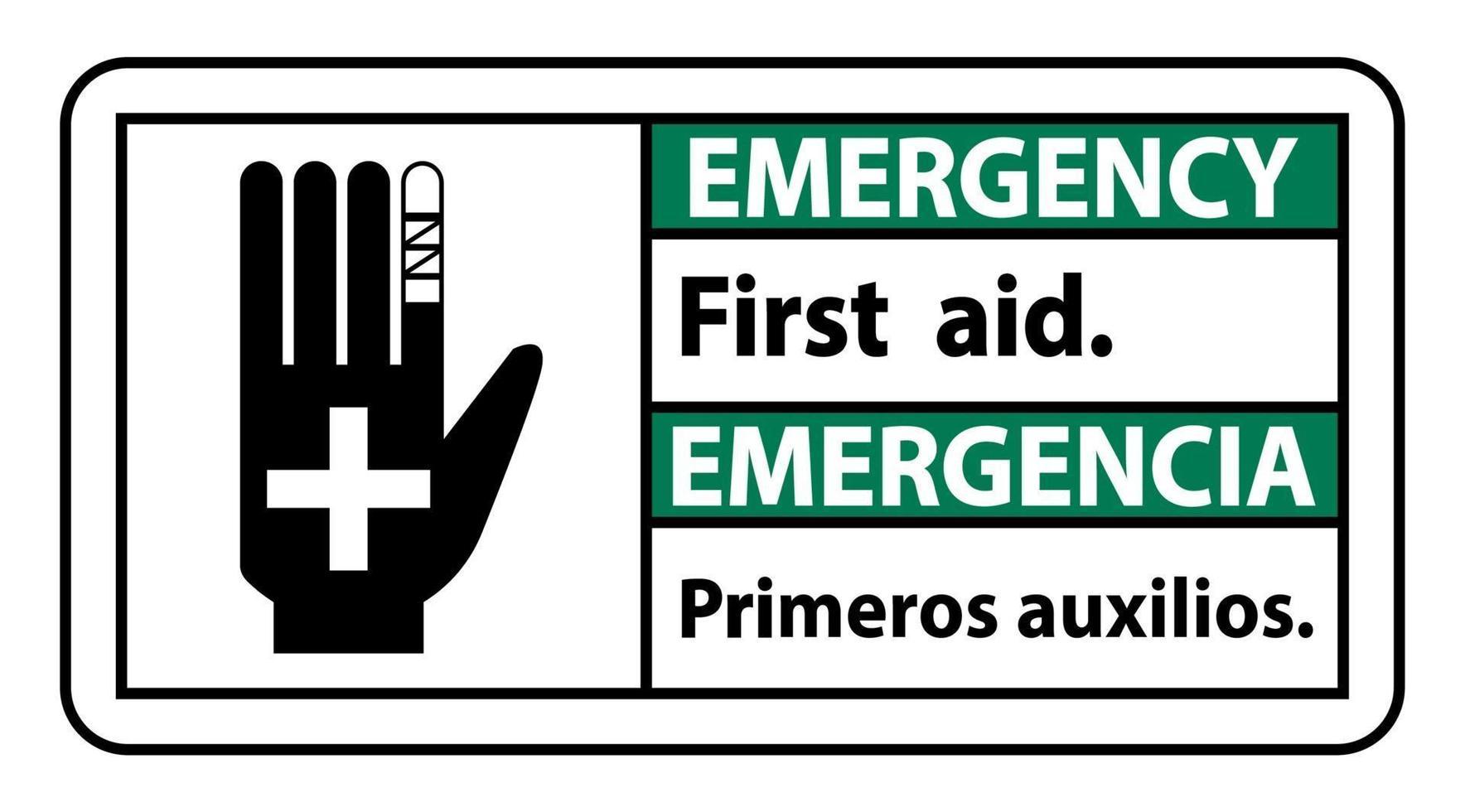 Señal de primeros auxilios de emergencia bilingüe vector