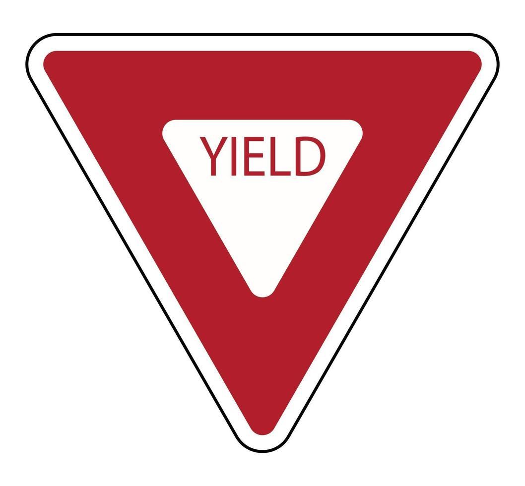 Señal de tráfico camino de rendimiento sobre fondo blanco. vector