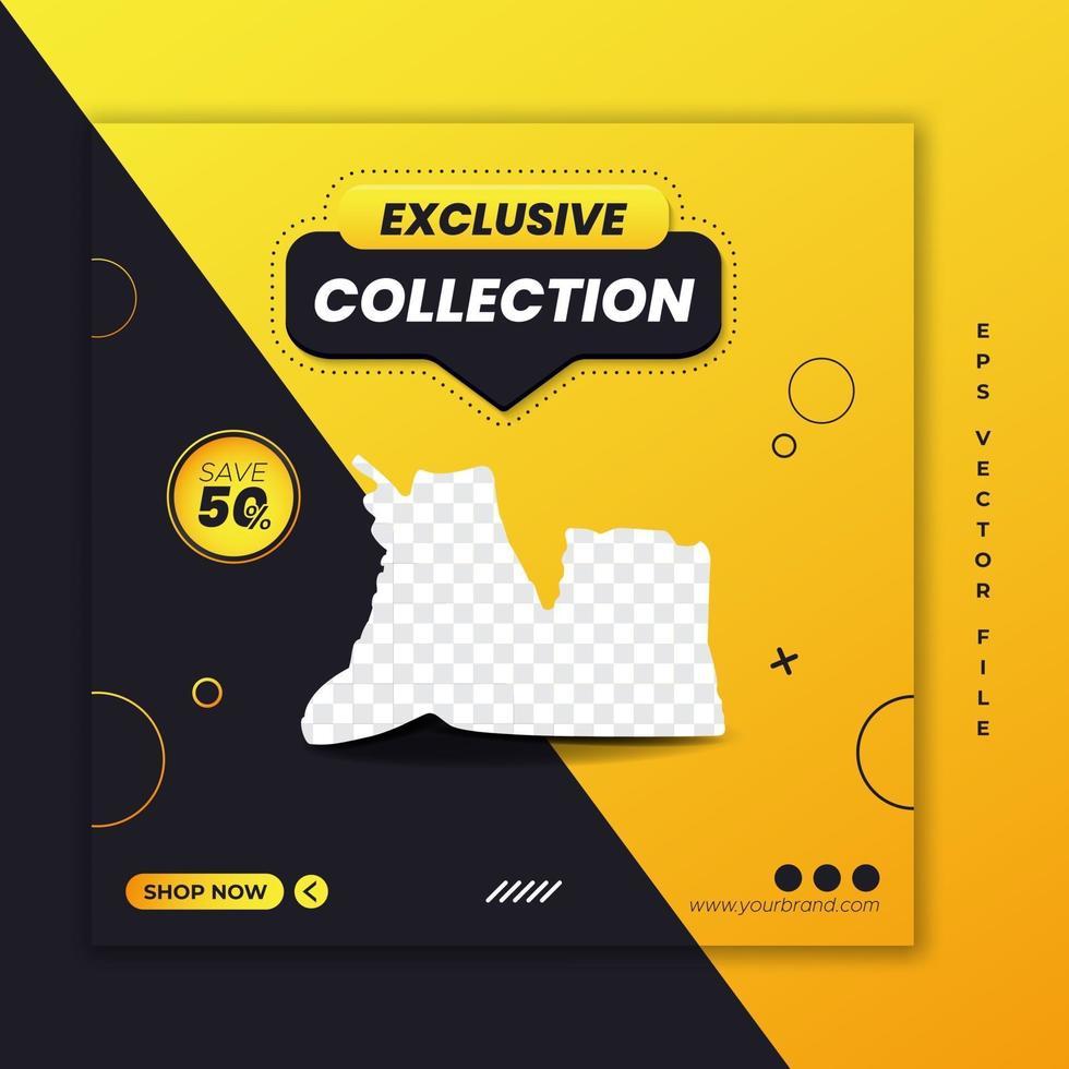 plantilla de banner web cuadrado de promoción de zapatos exclusivos vector