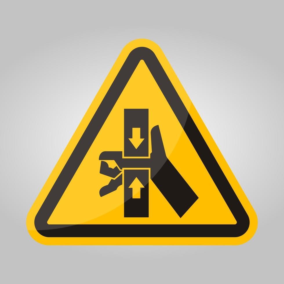 fuerza de aplastamiento de la mano desde el signo de símbolo superior e inferior, ilustración vectorial, aislar en la etiqueta de fondo blanco .eps10 vector