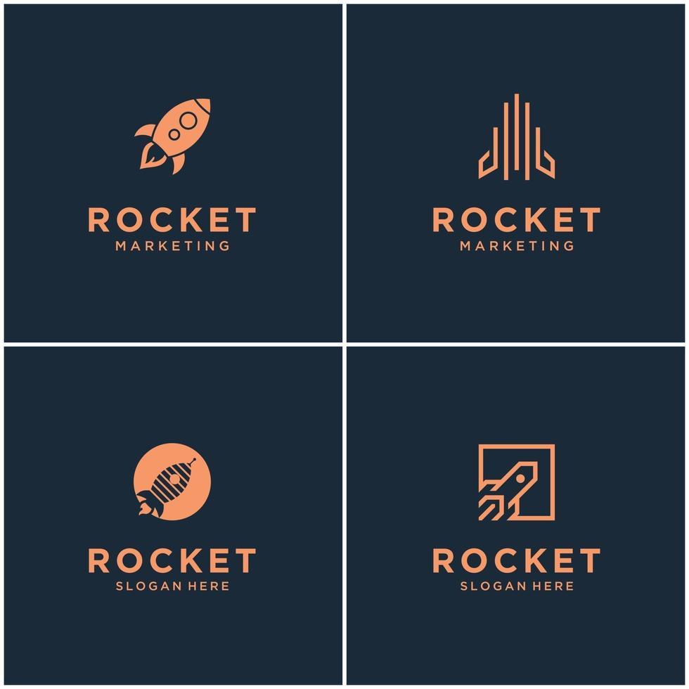 colección de diseños de logotipos de monogramas de cohetes. lanzamiento de cohete espacial abstracto aislado con ilustración vectorial. vector