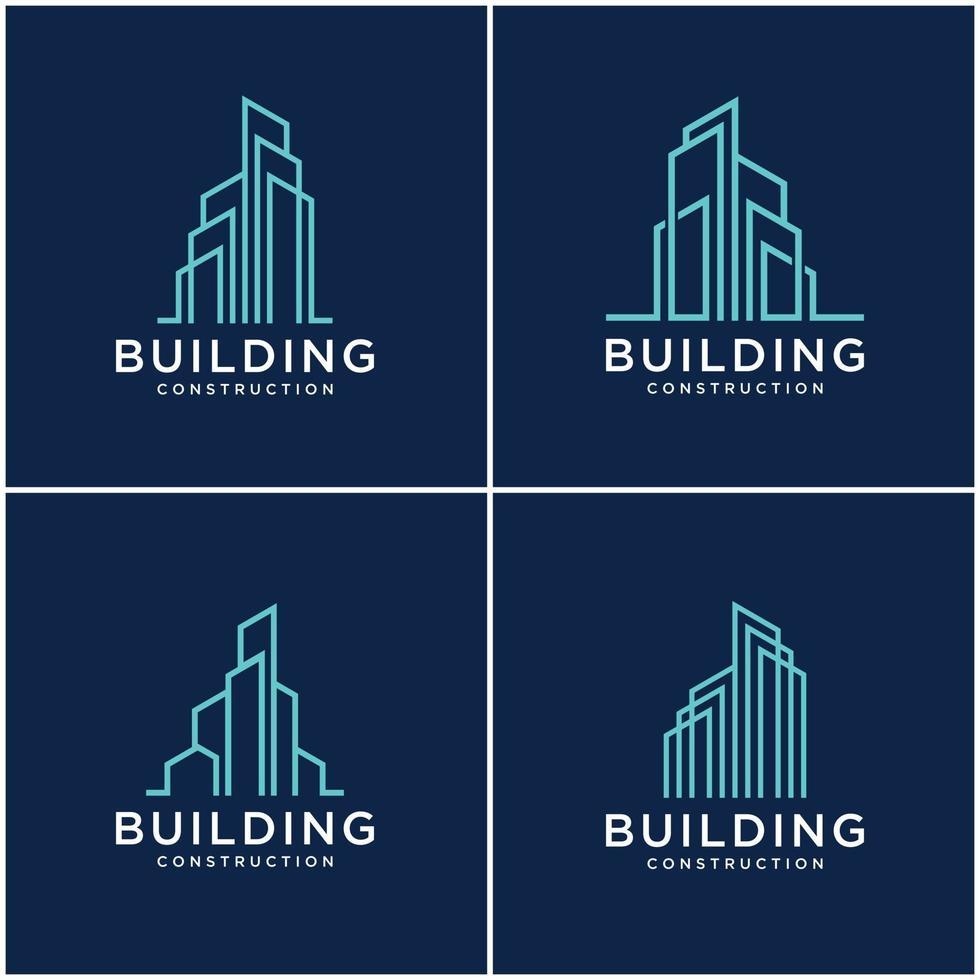 conjunto de construcción de colección diseño de logotipos construcción de paquetes. Tarjetas de visita premium, inspiradoras logotipos abstractos de construcción de ciudades. vector