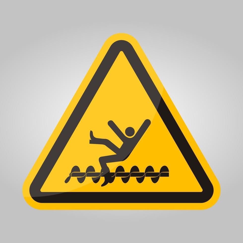 Advertencia: las piezas giratorias expuestas causarán lesiones en el servicio o signo de símbolo de muerte aislado sobre fondo blanco, ilustración vectorial vector