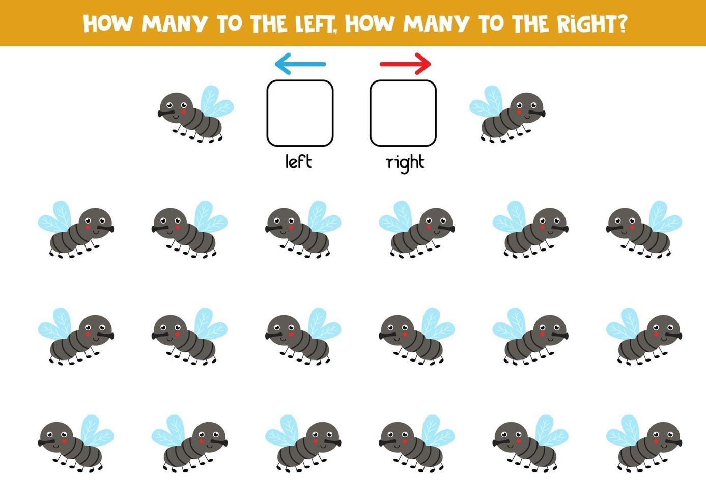 izquierda o derecha con linda mosca. hoja de trabajo lógica para niños en edad preescolar. vector